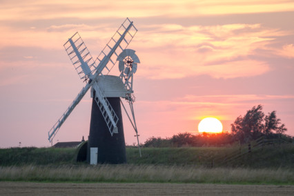 Ashtree Farm Drainage Mill at Sunset