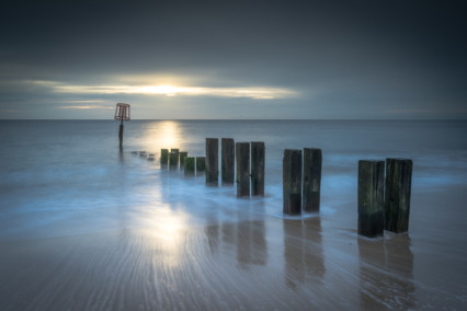 Gorleston on sea beach at sunrise