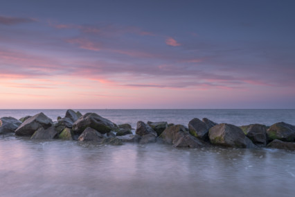 Happisburgh beach at sunset