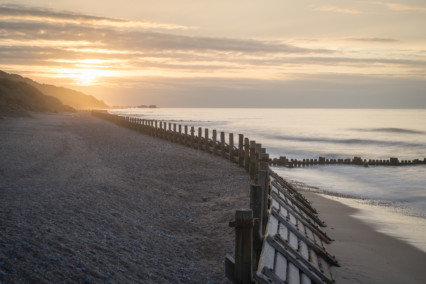Overstrand at sunset in Norfolk