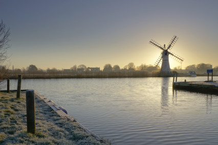 Frosty Thurne Windpump at Sunrise