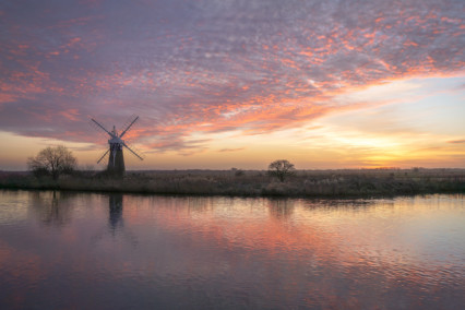 St Benets Level Drainage Mill at Sunset